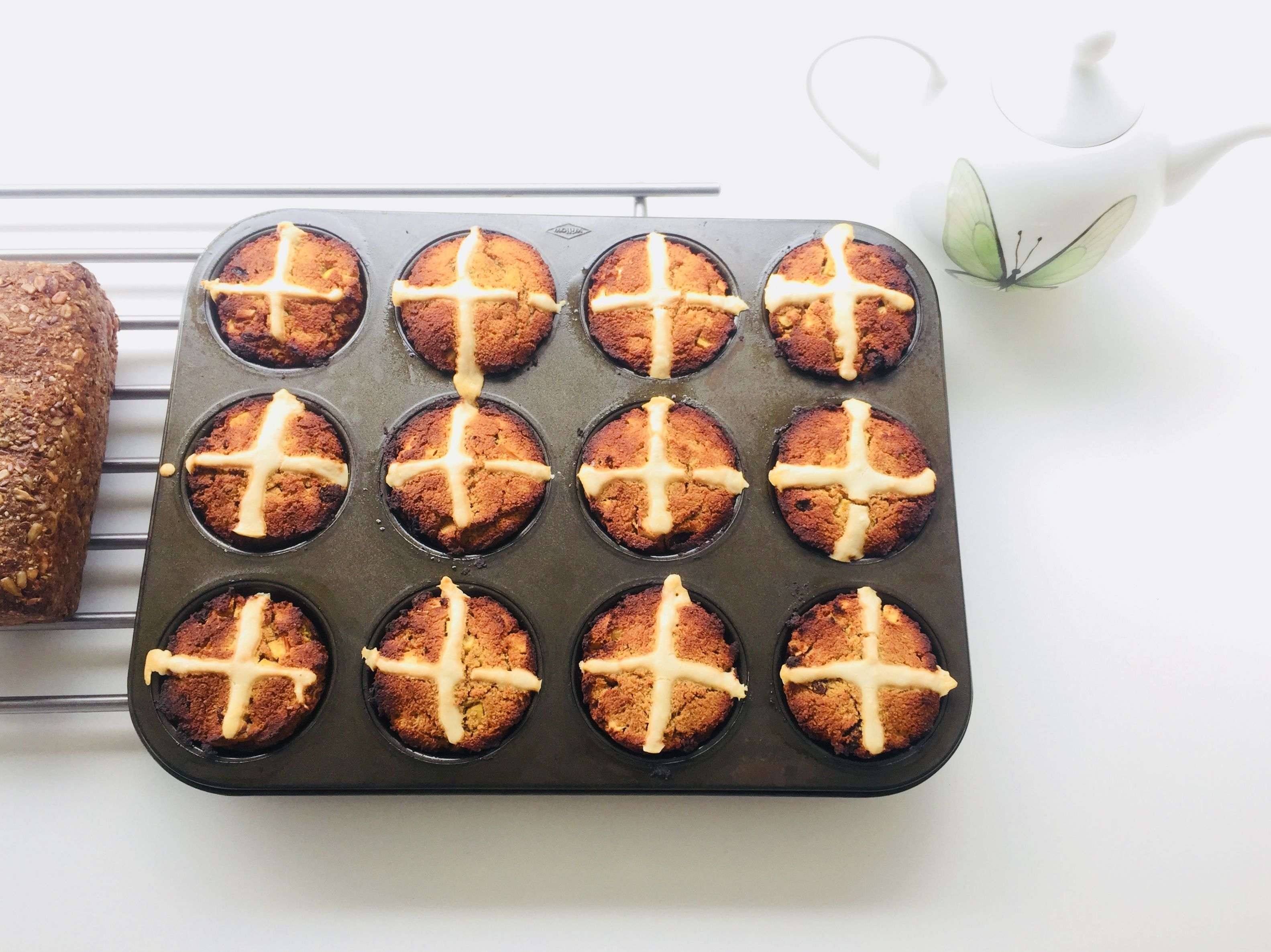hot cross muffins fresh from the oven